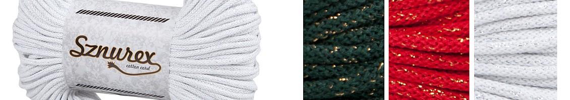 Sznurki bawełniane z nitką metalizowaną